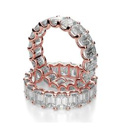 Natural 6.02 CTW U-Setting Emerald Cut Diamond Eternity Ring 14KT Rose Gold
