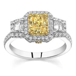 Natural 1.86 CTW Canary Yellow Radiant Cut 3-Stone Halo Diamond Ring 18KT Two-tone