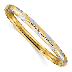 14k 4/16 w/White Rhodium Textured Braided Bangle - 7.5 in.