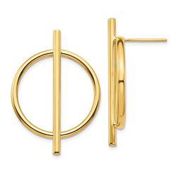 14k Yellow Gold Circle & Bar Post Earrings