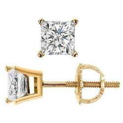 Natural 0.92 CTW Princess Cut Diamond Stud Earrings Basket Setting Push Back or Screw back 14KT Yell