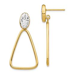 14k Rhodium Diamond Cut Triangle Dangle Post Earrings - 38 mm