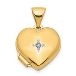 14k Yellow Gold Heart with Diamond Locket - 12 mm