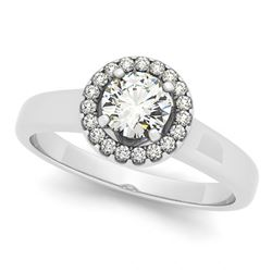 Natural 0.65 ctw Diamond Halo Ring 14k White Gold