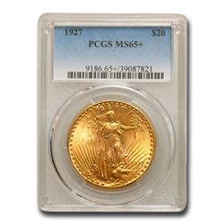 1927 $20 St. Gaudens Gold Double Eagle MS-65+ PCGS