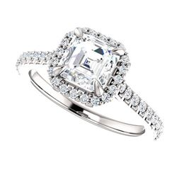 Natural 2.17 CTW U-Setting Halo Asscher Cut Diamond Engagement Ring 14KT White Gold