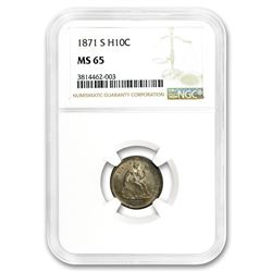 1871-S Liberty Seated Half Dime MS-65 NGC