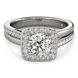 Natural 1.33 ctw Diamond Halo Ring 14k White Gold