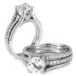 Natural 6.8 CTW Round Cut Diamond Engagement Ring 14KT White Gold