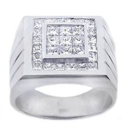 Natural 2.62 CTW Men's Invisible Setting Princess Cut Diamond Ring 18KT White Gold