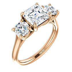 Natural 2.62 CTW 3-Stone Asscher Cut & Rounds Diamond Engagement Ring 18KT Rose Gold