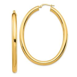 14k Yellow Gold Thick Oval Hoop Earrings - 2x4 mm
