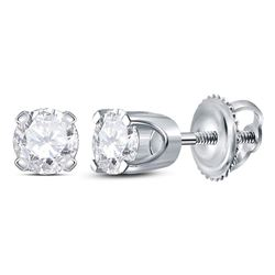 14kt White Gold Womens Round Diamond Solitaire Earrings 3/8 Cttw