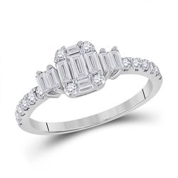 14kt White Gold Womens Baguette Diamond Cluster Ring 5/8 Cttw