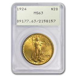 $20 Saint-Gaudens Gold Double Eagle MS-63 PCGS (Rattler, Random)