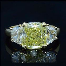 Natural 4.02 CTW Canary Yellow Cushion and Half Moons Diamond Ring 14KT White Gold