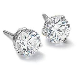Natural 3.22 CTW Round Brilliant Cut Diamond Stud Earrings Matini Setting 18KT White Gold