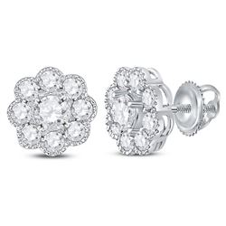 14kt White Gold Womens Round Diamond Flower Cluster Stud Earrings 1 Cttw