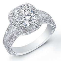 Natural 2.92 CTW Halo Cushion Cut Split Shank Diamond Engagement Ring 14KT White Gold