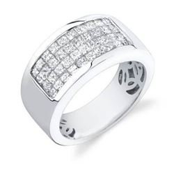 Natural 2.52 CTW Mens Diamond Ring 14KT White Gold