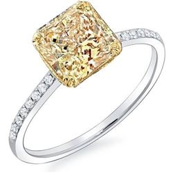Natural 1.29 CTW Canary Intense Yellow Radiant Cut Engagement Ring 18KT Two-tone