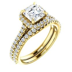 Natural 2.02 CTW Halo Asscher Cut Diamond Engagement Bridal Set 18KT Yellow Gold