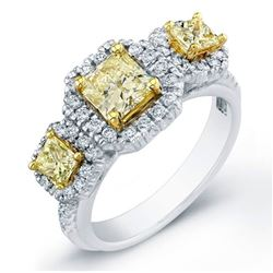 Natural 1.52 CTW 3-Stone Canary Light Yellow Radiant Cut Diamond Engagement Ring 18KT Two-tone