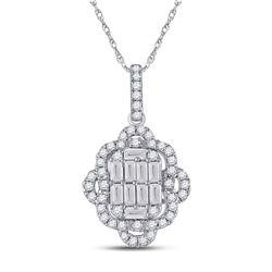 14kt White Gold Womens Baguette Diamond Quatrefoil Cluster Pendant 5/8 Cttw