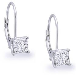 Natural 0.82 CTW Lever Back Princess Cut Diamond Earrings 18KT White Gold
