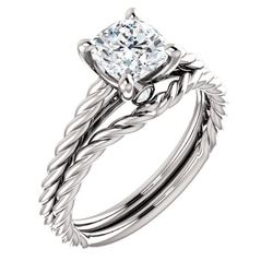 Natural 1.02 CTW Cushion Cut Infinity Rope Diamond Engagement Set 14KT White Gold