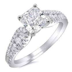 Natural 2.88 CTW Radiant Cut Loop Shank Diamond Engagement Ring 18KT White Gold