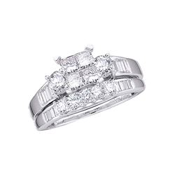 14kt White Gold Princess Diamond Bridal Wedding Ring Band Set 1 Cttw