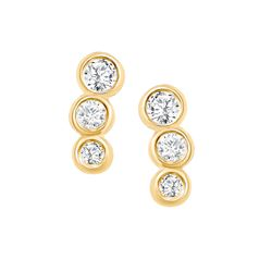 Natural 0.22 CTW Petite Bezel Diamond Earrings 18KT Yellow Gold