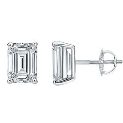 Natural 1.12 CTW Emerald Cut Diamond Stud Earrings 18KT White Gold