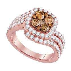 14kt Rose Gold Round Brown Diamond Cluster Bridal Wedding Engagement Ring 2 Cttw