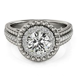 Natural 1.15 ctw Diamond Halo Ring 14k White Gold