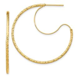 14k Yellow Gold D/C with Polished Wire Hoop Earrings - 1.5x35 mm