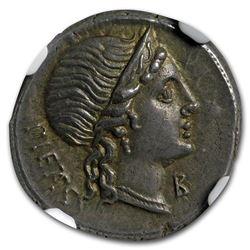 Roman Republic AR Denarius M. Herennius (108/7 BC) Ch AU* NGC