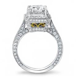 Natural 3.32 CTW Princess Cut Halo Pave Diamond Engagement Ring 18KT Two Tone
