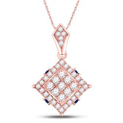 14kt Rose Gold Womens Round Diamond Blue Sapphire Square Pendant 5/8 Cttw