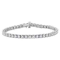 14kt White Gold Womens Round Diamond Studded Tennis Bracelet 4 Cttw