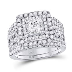 14kt White Gold Princess Diamond Bridal Wedding Ring Band Set 2-1/2 Cttw