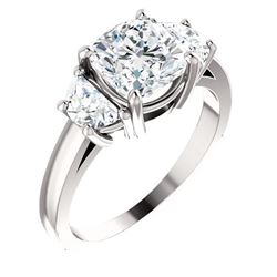 Natural 3.02 CTW Cushion Cut & Half Moons 3-stone Diamond Ring 18KT White Gold