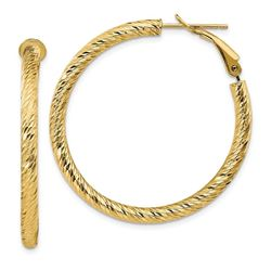 14k Yellow Gold Diamond-cut Omega Back Hoop Earrings - 3x30 mm