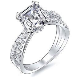 Natural 2.67 CTW Asscher Cut Cross Over Diamond Engagement Ring 18KT White Gold