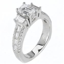 Natural 2.12 CTW Emerald Cut & Baguettes Diamond Engagement Ring 18KT White Gold