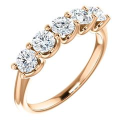 Natural 1.02 CTW Round Cut 5-Stone Diamond Ring 14KT Rose Gold