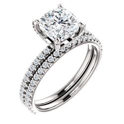 Natural 3.42 CTW Halo Cushion Cut Diamond Ring 18KT White Gold