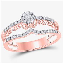 14kt Rose Gold Womens Round Diamond Modern Filigree Band Ring 1/3 Cttw
