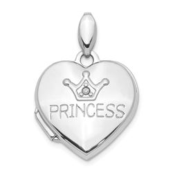 14k White Gold Diamond Princess Locket Pendant - 22 mm